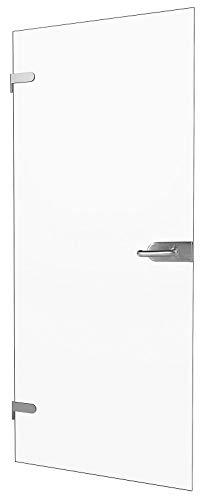 """inova Glas-Drehtür 834x1972x8mm Klar-Glas DIN Links + Studio-Beschlag """"06"""" Komplettset Echtglas Glastür Wohnungstür"""