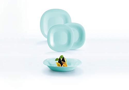 Luminarc Neo Carine Vajilla de vidrio opal para 6 personas, 18 piezas, extra resistente, Turquesa, Nuevo modelo,