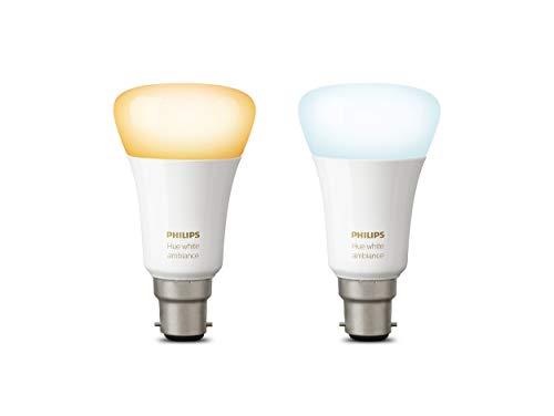 Philips Hue White Ambiance Personal Wireless Lighting, Synthetik, weiß, 2 Stück, B22 9.5 watts 240 volts