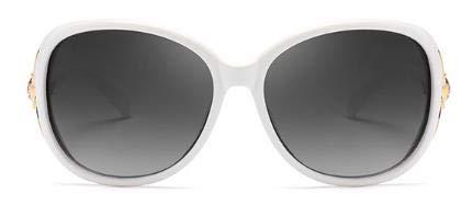 LUXIAOYU Neue Polarisierte Sonnenbrille Weibliche Gezeiten Sonnenbrille Mit Bohrer Fox Kopf Anti-Uv Gm Gläser Geschenk,White