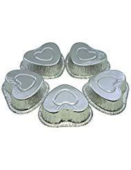MYSTAR Einweg Aluminium Folie, Mini Pie/Kuchen/Muffin Backförmchen 105 ml silber (Folie Herz-backförmchen)