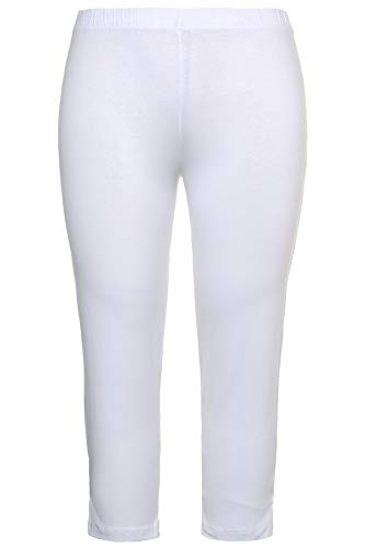 Ulla Popken Damen große Größen bis 76, Caprihose, Klassische 7/8 Hose in Uni, enganliegende Jersey-Hose, Leggings Slim Fit weiß 54/56 593724 20-54+