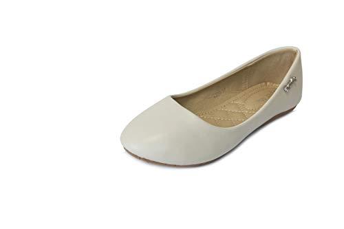 Frentree Klassische Damen Ballerinas Schuhe, Größe:41, Farbe:beige