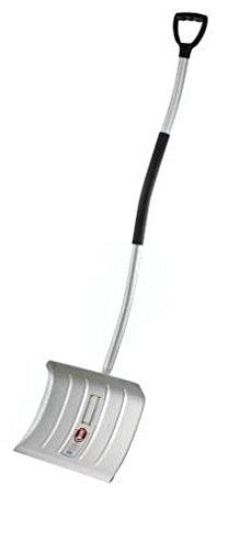 IDEAL-Schneeräumer, Stahlblech, verzinkt, Schutzkante, 450 x 450 mm, incl. Ergo plus-Stiel mit D-Griff 140 cm