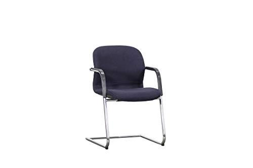 """Thonet Freischwinger Konferenzstuhl Besucherstuhl Empfangsstuhl Designmöbel Modell\""""FS-Linie\"""" In Dunkelblau, Geprüft Und Gebraucht, 83,5x48x44cm (Zertifiziert und Generalüberholt)"""