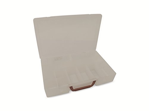 2 Stück XL Sortimentskasten Organizer mit Klappgriff in Rot. In komplett transparenter Ausführung. Jeder Kasten mit 11 Fächern! TOPP - 2