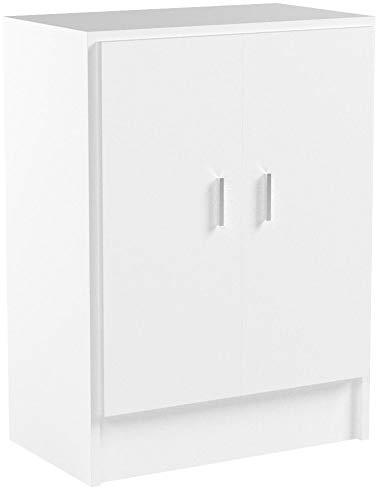 Habitdesign 005149O - Mueble armario multiusos bajo 2 puertas, color Blanco, medidas:...