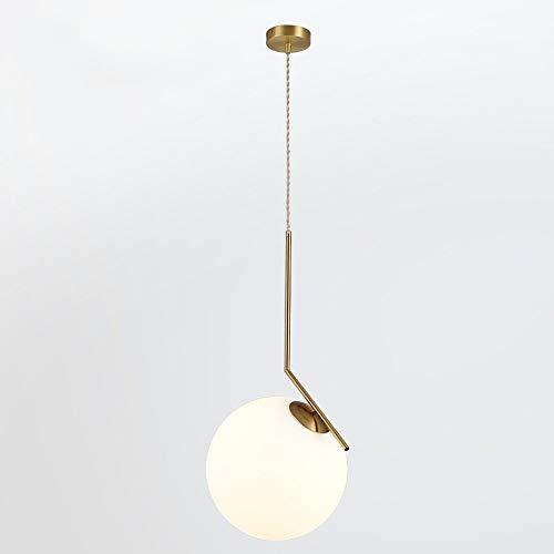 Wylolik Moderne glaskugel kücheninsel pendelleuchte mini milchweiß satiniertes glas form e27 / e26 basis messing gebürstet wohnzimmer kronleuchter zähler dekoration esszimmer beleuchtung fest verdraht (Mini-kuchen-sockel Gold)