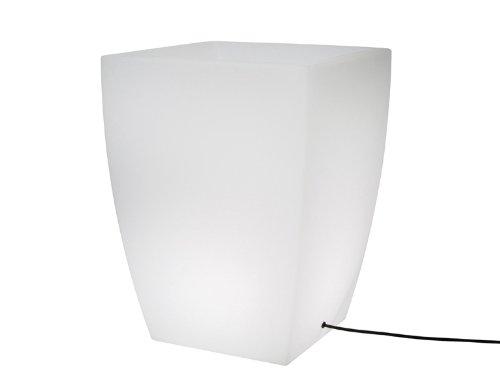 8 seasons design | Pflanztopf Blumenkübel beleuchtet Shining Pot eckig (E27 für LED, 50cm, 30l, Leucht-Übertopf mit Ablauf für innen & außen) weiß -
