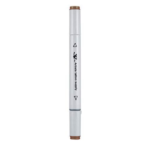 Delicacydex Dual-Tip Tattoo Body Art Piercing Haut Marker Stift flach / dick TIPP Marker ToolKünstler Tattoo Versorgung Zubehör - braun