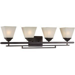 Forte Lighting 5084-04-32 Bath Vanity with Shaded Umber Glass Shades, Antique Bronze by Forte Lighting