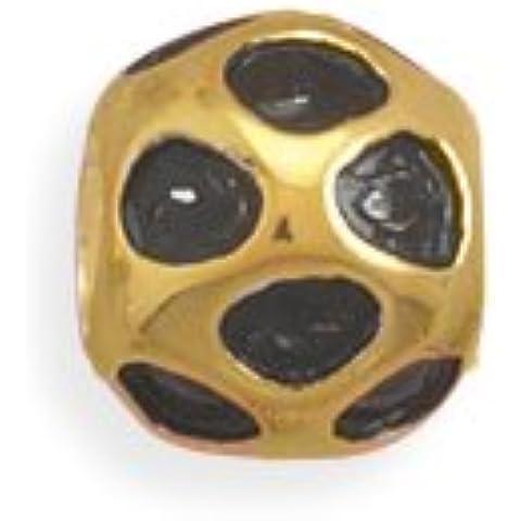 Argento Sterling Placcato Oro 14kt e smalto nero Dot Design Perlina distanziatore Bead è 7mm (Smalto Dot)