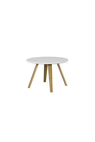 Tenzo 3755-001 Lola Designer Table Basse, Blanc/Chêne, Plateau en Panneaux MDF ép. 19 mm laqués, 40 x Ø 60 cm (HxLxP)