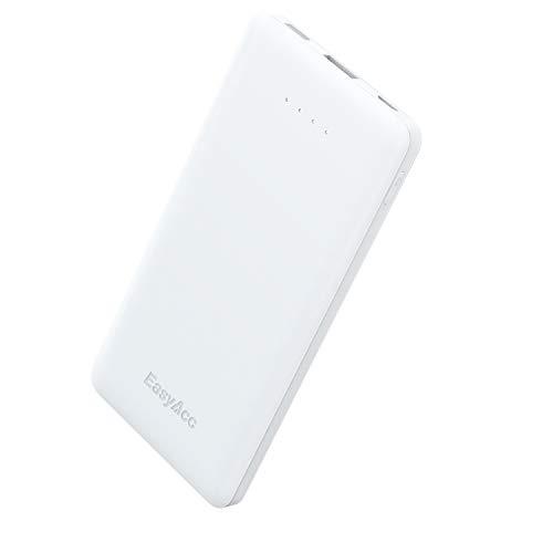 Easyacc powerbank 10000mah caricabatterie portatile batteria portatile con ricarica intelligente e veloce, ultraportatile ultra magro per iphone, galaxy e altro (bianco)