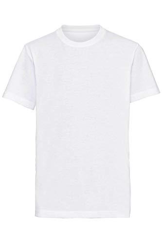 Mivaro Jungen T-Shirt mit Rundhals meliert einfarbig Bügelfrei, Farbe:Weiß, Größe:164 -
