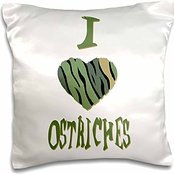 Camo Colored Striped I Love Animals Heart - Camo Colored Striped I Love Ostriches - 16x16 inch Pillow Case
