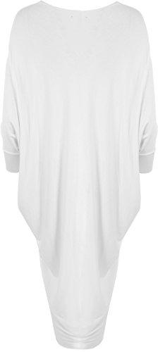 WearAll - Damen Fledermausärmel Lang Offen Jacke Top - 3 Farben - Größen 36-46 Weiß