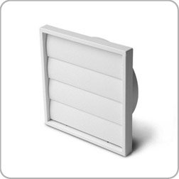 Manrose gravity flap wall grille, 100mm diameter, white plastic, toilet ventilation, extractor fan