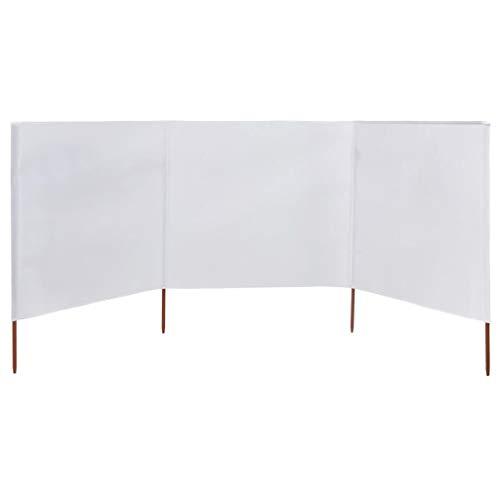 Festnight- Paravent Pliable Exterieur paravent Pliable terrasse Jardin Mur à 3 Panneaux en Tissu Blanc 400 x 120 cm