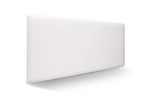 SuenosZzz. Cabecero para Cama Juvenil tapizado en Polipiel Blanco. Facil Limpieza Medida: 100cm/57cm/6cm. Camas de 90 cm.