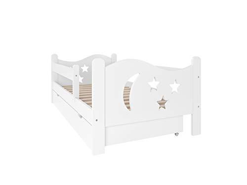 Need Sleep Rausfallschutz Kinderbett 70x140 oder 80x160 mit Matratze und Lattenrost Bettkasten Rausfallschutz Bett Kinder Bett Weiß Bettgitter Bettschutzgitter Kinderzimmer Mädchen Junge