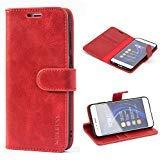 Mulbess Ledertasche im Ständer Book Case / Kartenfach für Huawei Honor 8 Tasche Hülle Leder Etui,Wine Rot
