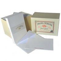 Original Crown Mill Luxus Schreibset, 50 Korrespondenzkarten DIN A6 und 50 Umschläge DIN C6 in fein geripptem Papier - Cremefarben