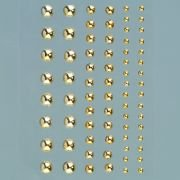 Efco rond Demi Perles en acrylique Autocollant, Or brillant, 3/5/7mm, 72
