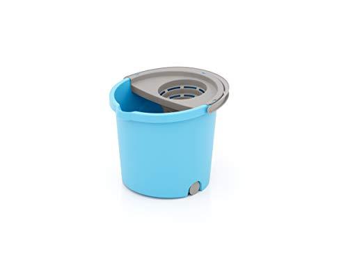 SMART-T-HAUS Cubo Redondo con Mini Ruedas + Escurridor, Azul, 33 x 35 x 28 cm