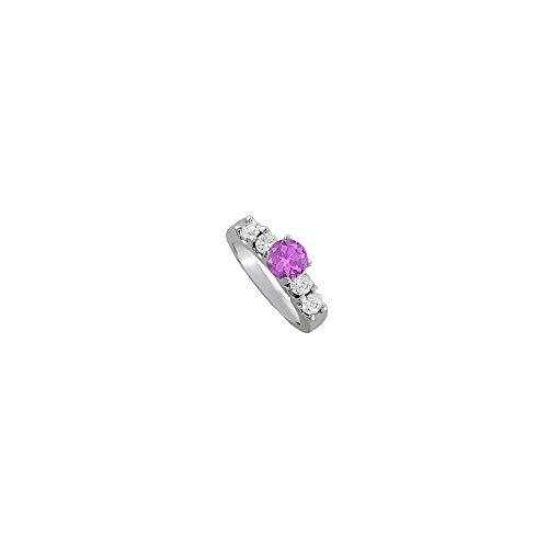 February Birthstone Amethyst and CZ Elegant Engagement Ring in 14K White Gold Best Price Range