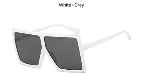 Cranky Orange Classic übergroße quadratische Sonnenbrille Frauen Retro Transparente Sonnenbrille Männer 2019 billig Gradient Lentes de Sol Hombre, Weiß Grau