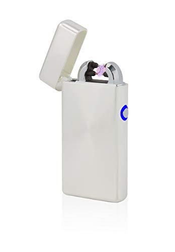 TESLA Lighter T08 Lichtbogen-Feuerzeug, elektronisches USB Feuerzeug, Double-Arc Lighter, wiederaufladbar, Silber gebürstet