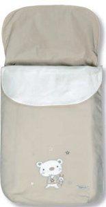 Pirulos 45013010-Sacco Carrello, motivo orsetto Star, Cotone, 48x 82cm, colore: bianco e lino