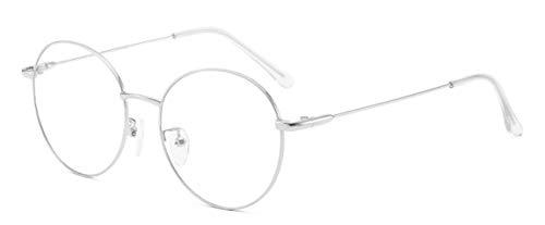JIUPO Unisex Silber Und Schwarz Brille Ohne Sehstärke Beatles Retro Runde Sixties Style Metall Brillen Klare Linse