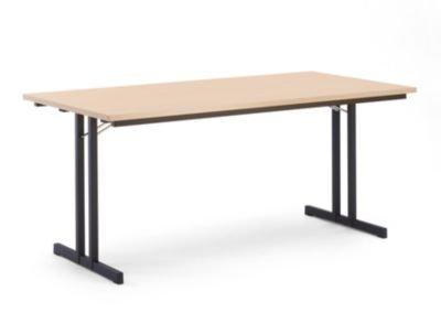 Klapptisch, mit extra starker Platte - Höhe 720 mm - 1600 x 800 mm, Gestell schwarz, Platte Buche-Dekor - Klapptisch Konferenztisch Mehrzwecktisch