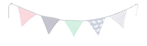 ULLENBOOM ® Wimpelkette Elefant Mint Rosa (Stoff-Girlande: 1,9 m, 5 Wimpel, Dekoration für Kinderzimmer & Baby-Partys, Motiv: Elefanten, Sterne)