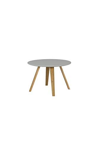 Tenzo 3755-012 Lola Designer Table Basse, Gris/Chêne, Plateau en Panneaux MDF ép. 19 mm laqués, 40 x Ø 60 cm (HxLxP)