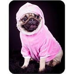 Alfombrilla de ratón con tacto suave,y diseño de carlino vestido de rosa sudadera con capucha