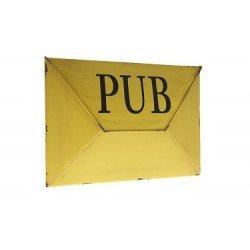 Antic Line Range courrier, Boite à pub métal Jaune