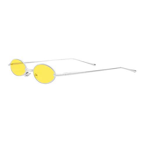 Baoblaze Sonnenbrille Kleine Runde Metallrahmen Oval Unisex Gläser für Fahren, Outdoor, Reisen, Fotografieren, Retro Stil - Gelbe Linse + Silberrahmen