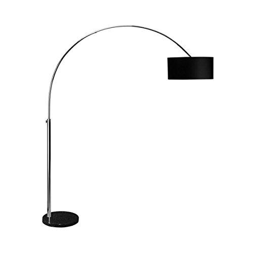 BUTLERS Standleuchte in Schwarz - Stehlampe BOW - große Bogenstand-Leuchte fürs Wohnzimmer - Bogenlampe mit Textilschirm