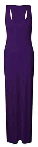 Femmes Longue Robe Longue Jersey Femmes Couleur Unie Dos Nageur Robe Violet