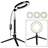 Fonrest LED Ring Light with Tripod Stand Selfie Stick, 6-inch Dimmable Floor/Table Annular