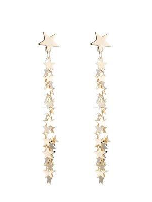 Ein Paar Von Tragenden Gesicht Dünne Lange Quaste Ohrringe Ohrclip Pentagram Sterne Hängende Ohrringe ()