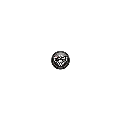 Paula & Fritz® Faux plug en acier chirurgical 316L inoxydable et acrylique avec logo PAFX32 Logo: Heart Maze