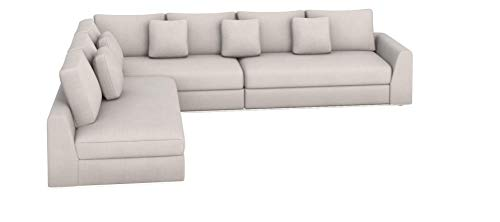 Zikra Lifestyle Solutions Solid Wood Fabric L Shape Sofa Pack (Off-White)