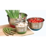 Cook Pro Stainless Steel Mixing Bowls with Non-Skid Base Set of 3, 5 l