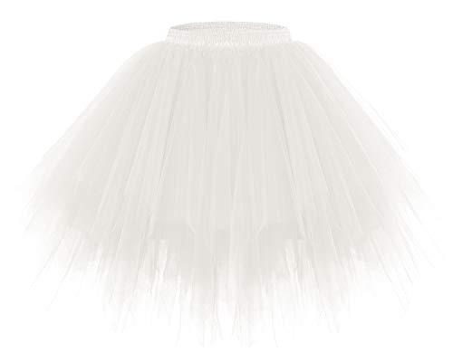 bridesmay Tutu Damenrock Tüllrock 50er Kurz Ballet Tanzkleid Unterkleid Cosplay Crinoline Petticoat für Rockabilly Kleid Ivory M