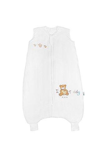 Schlummersack Schlafsack mit Füßen aus Bambus für den Sommer in 1.0 Tog - I love Teddy - 24-36 Monate/100 cm