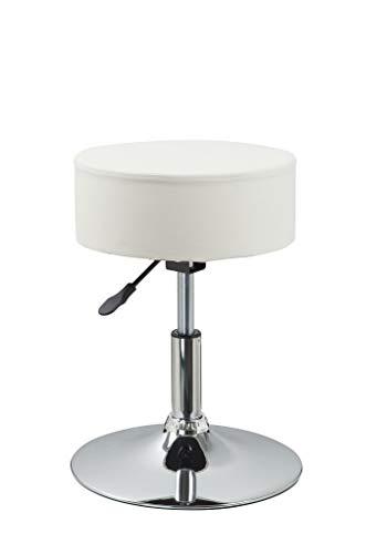 Duhome Drehhocker Sitzhocker Creme Beige Hocker RUND höhenverstellbar drehbar aus Kunstleder Farbauswahl 428S -